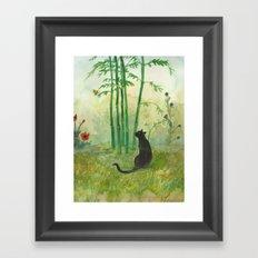 Black Cat in the Bamboo Framed Art Print