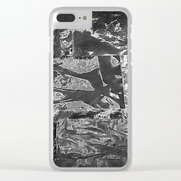 Black and White Abstract - Negative Style Random Pattern Clear iPhone Case
