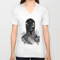 wrestling V-neck T-shirts featuring Wrestling mask 1 by DIVIDUS