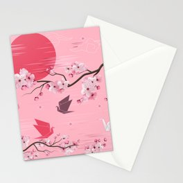 Cherry Blossoms and Origami Stationery Cards