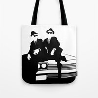 blues brothers Tote Bags featuring Blues Brothers by Greg Koenig