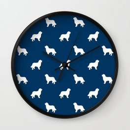 Bernese Mountain Dog pet silhouette dog breed minimal navy and white pattern Wall Clock