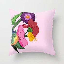 Rose-schach en bleu Throw Pillow