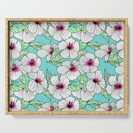 Pink & White Tropical Hibiscus Floral Pattern Serving Tray