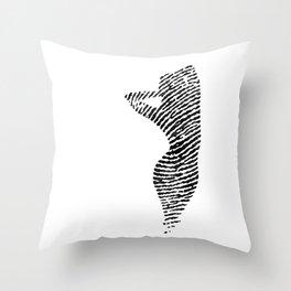 Fingerprint Silhouette Portrait No.2 Throw Pillow