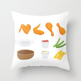 Wings and Dips Throw Pillow