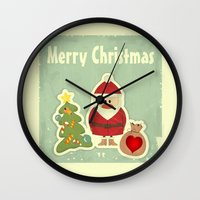 merry christmas Wall Clocks featuring Merry Christmas by Cs025