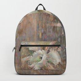 WHITE ORCHID, POINTILLISM, PILAR VAZQUEZ  Backpack