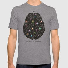 Your Brain On Video Games Tri-Grey Mens Fitted Tee MEDIUM