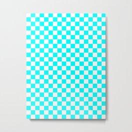 Small Checkered - White and Aqua Cyan Metal Print