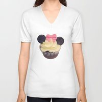 minnie mouse V-neck T-shirts featuring Minnie Mouse Cupcake by Loulabelle