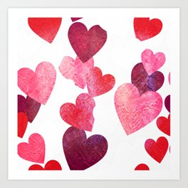 Pink Grungy Hearts Kunstdrucke