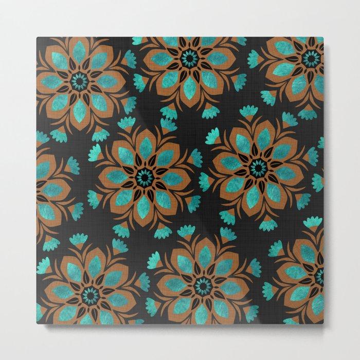 Teal & Brown Decorative Flowers Design Metal Print