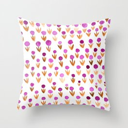 Dot flowers - pink and orange Throw Pillow