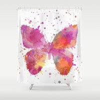 artsy Shower Curtains featuring Artsy Butterfly by LebensART