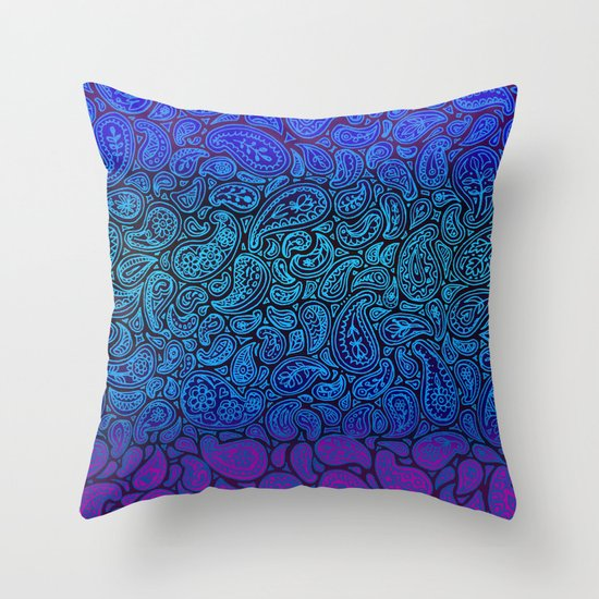 Purple Paisley - ombre paisley pattern in purple, blue and black. Throw Pillow by Micklyn Society6