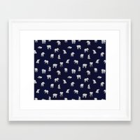 baby Framed Art Prints featuring Indian Baby Elephants in Navy by Estelle F