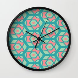 Pink honeycombs flowers pattern Wall Clock