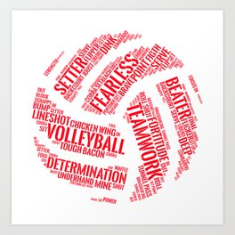 Red Volleyball Wordcloud - Gift Art Print