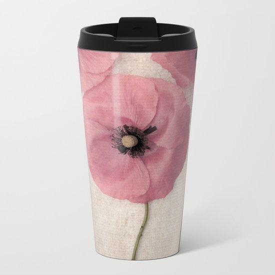 Three Pink Poppies Metal Travel Mug