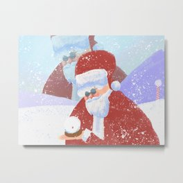 Santas Snow Globe Metal Print