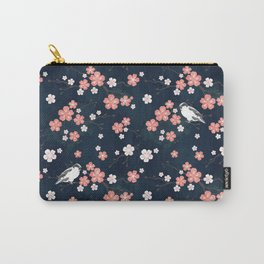 Navy blue cherry blossom finch Carry-All Pouch