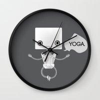 yoga Wall Clocks featuring Yoga by Duan Riley