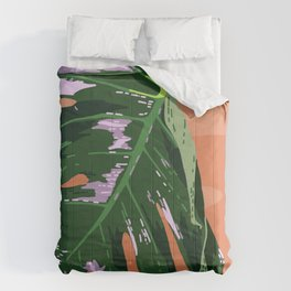Daytime Monsters - Tropical Monstera Deliciosa Illustration Comforters
