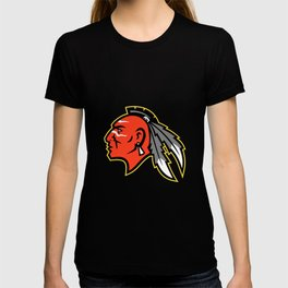 Mohawk Brave Warrior Head Side Mascot T-shirt