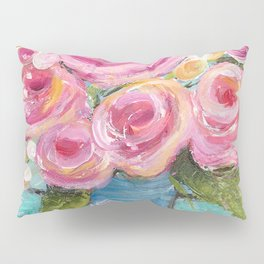 Shabby Chic Pink Rose Farmhouse Flowers Pillow Sham