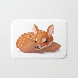 Cute fawn Red deer (Cervus Elaphus). Sleeping baby bambi Bath Mat
