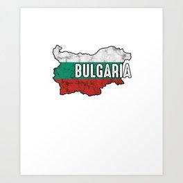 Bulgaria Patriotic Bulgarian Flag Map Symbol Nationalism Patriosm Art Print