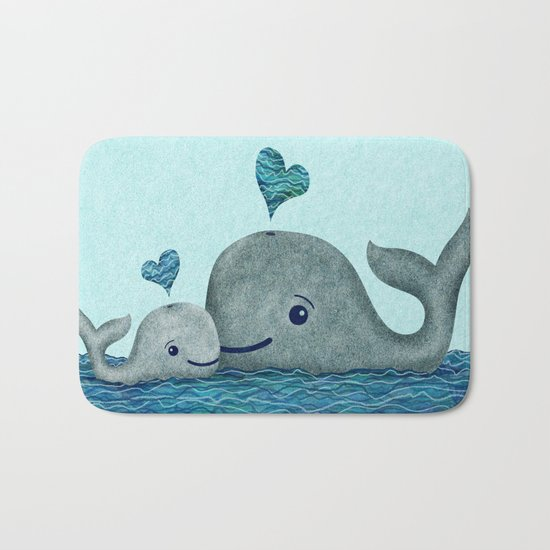 Whale Mom and Baby with Hearts Bath Mat