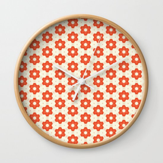 Retro Red Flower Wall Clock
