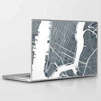new york map Laptop & iPad Skins featuring New York City map by Studio Tesouro