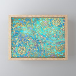 Sapphire & Jade Stained Glass Mandalas Framed Mini Art Print