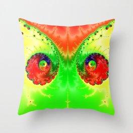Vibrant Spring Twin Vortex Fractal Art Print Throw Pillow