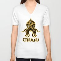return V-neck T-shirts featuring Cthulhu return by Enrique Valles