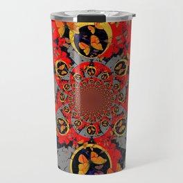 BUTTERFLIES &  BLACK BATS  RED ART Travel Mug