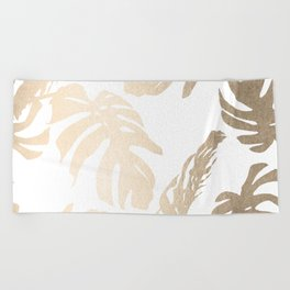Simply Tropical Palm Leaves in White Gold Sands Beach Towel