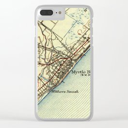 Vintage Map of Myrtle Beach South Carolina (1940) Clear iPhone Case