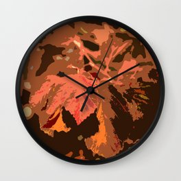 Abstract Fall Leaves Wall Clock