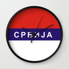 serbia srbia flag cyrillic name text Wall Clock