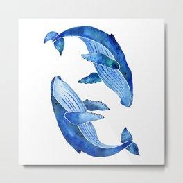 Humpback Whale | Ocean Blue Metal Print