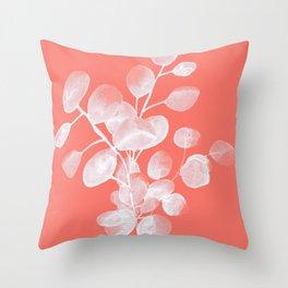 Eucalyptus Silver Dollar Living Coral Throw Pillow