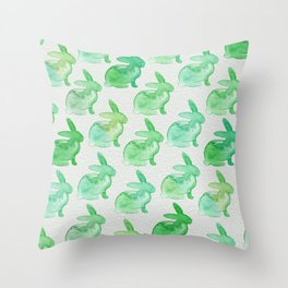 Watercolor Bunnies 1H by Kathy Morton Stanion Throw Pillow