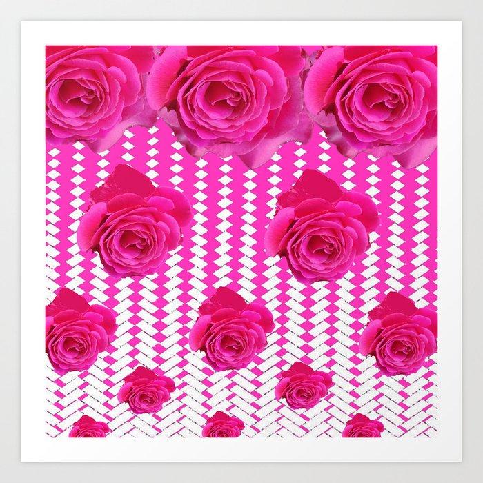 ABSTRACTED CERISE PINK ROSES GARDEN ART Art Print