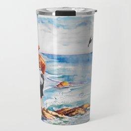 Watercolor Boy with Seagulls Travel Mug