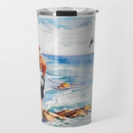 Watercolor Boy with Seagulls Travel Mug