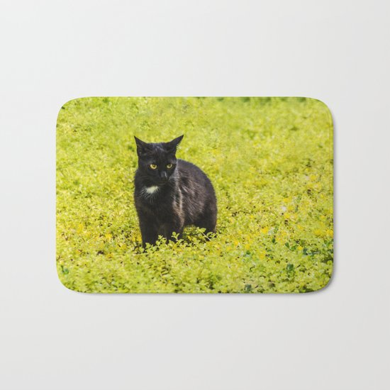 Black and Yellow Bath Mat